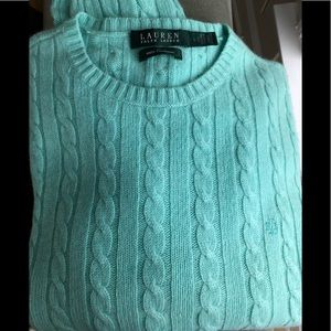Ralph Lauren 100% cable cashmere green sweater